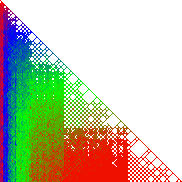 A picture of resolution 182 x 182 pixels depicting the entries of François Brunault's matrix